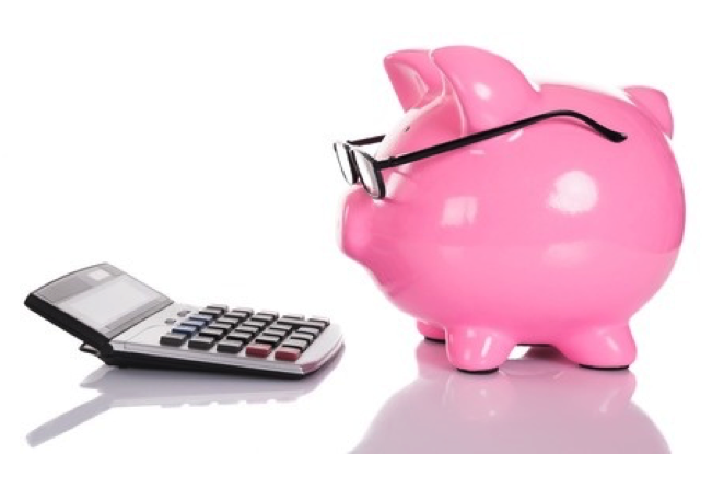 Piggy bank calculating PEO payroll